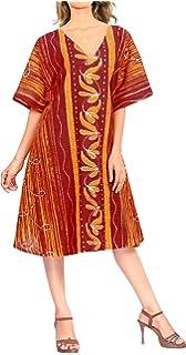 LA LEELA Donne Cotone Kaftan Tunica Batik Kimono Libero Formato Lungo Maxi Partito Caftano Vestito per Loungewear Vacanze Pigiama Spiaggia di Tutti i Giorni Coprire i Vestiti NY