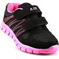 Dek Girls New Superlight Weight Touch Fastening Black Jogger Trainers Shoe Size 10-2