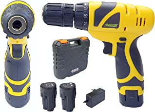 Cheston Cordless Drill Screwdriver Driver 10mm Keyless Chuck 12V with 2 batteries LED torch Variable Speed and Torque Setting (19+1) (Select models with bits combo) (1.2 AH BATTERY LASTS 40 MINUTES, DRILL ONLY)