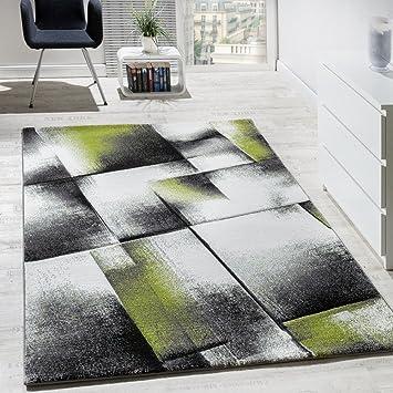 Designer Teppich Wohnzimmer Teppiche Kurzflor Meliert Grün Grau ...