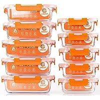 CREST Lot de 10 Récipient en Verre - 1040 ML + 370 ML Boîtes Alimentaires - Contenants de Stockage de Repas en Verre…