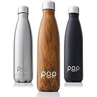 POP Design Bouteille d'eau Isotherme de Garde Froid 24h ou Chaud 12h | Isolant sous Vide en Acier Inoxydable | Anti-Condensation et Anti-Fuites | Goulot Étroit et sans BPA