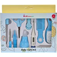 MUMMAMIA Premium Quality 10 Pcs Baby Health Care Kit for New Born, Infants (Includes F° Reading Thermometer) (Blue)