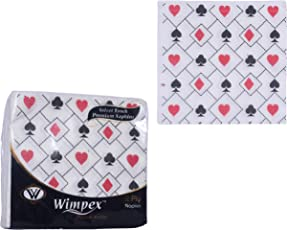 Wimpex Velvet Soft 2 Ply Ultra Soft Designer Paper Napkins - 50 Serviettes Printed (Set of 4/6 packs) for Card Party/Cocktail / Kitty Party/Ladies Night/Celebrations - 33 * 33cm