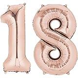Ouinne Fête Ballons D'hélium Foil NO.18, 40 Pouces Articles de Ballon 18 Ans pour Anniversaire de Mariage Décoration (Rose Gold)