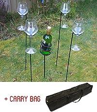 Woodside - Weinflaschenhalter & Weinglashalter mit Tasche für den Garten - Zum Grillen/für Picknicks