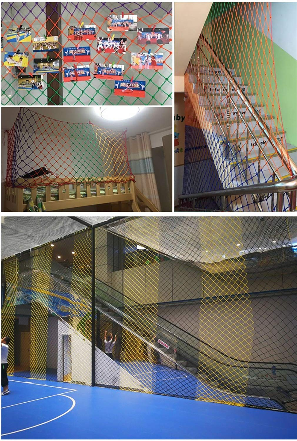 Child safety net protective net balcony stairs anti-fall net kindergarten color decorative net fence network Length 1M /9M Hand braided traditional structure (Color : Outdoor, Size : 4m*5m)  [Protect children's safety]: Many children fall from the building, let us understand that the safety of children can not be ignored. [Polyester knotless woven mesh]: The mesh surface has large pulling force, and the double needle has no knot woven mesh hole, so that the mesh has stronger impact resistance. [wire diameter 4MM, mesh spacing 4CM]: Escort for baby safety.(Others available in our shop) 5