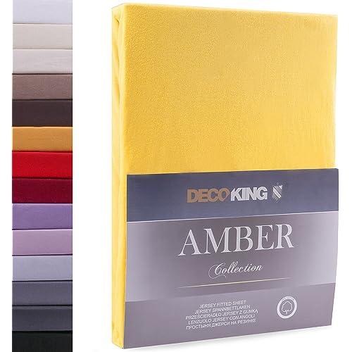 DecoKing Lenzuolo sotto con Angoli Elasticizzati 100% Jersey in Cotone, Amber Collection, 80x200-90x200 cm, Arancione Chiaro