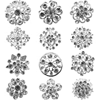 Tooky 12PCS mix set Crystal Button spille sciarpe fibbia Floriated spilla pin strass corpetto bouquet kit lotto all…