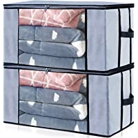 Home Store India Storage Bags Organizer Container Jumbo Size[Pack of 2] Foldable Clothes Storage Bags Breathable Non Woven Material Closet Organization with Clear Window