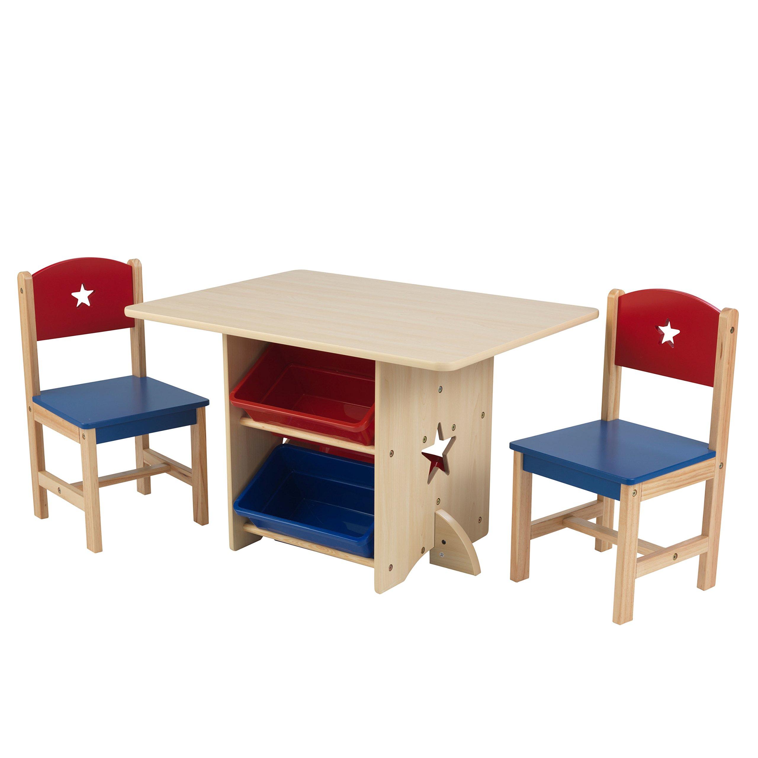KidKraft 26912 Set Tavolo con 2 Sedie Stella in Legno con Contenitori,  Mobili per Camera da Letto e Sala Giochi per Bambini - Rosso e Blu