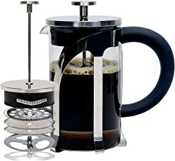 Café JEI French Press Coffee and Tea Maker 600ml with 4 Level Filtration System, Stainless Steel, Heat Resistant Borosilicate Glass