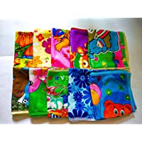 Lushomes Polyester Printed Quick Dry Microfiber Face Hand Small Towel Set of 10 (25 x 25 cms)