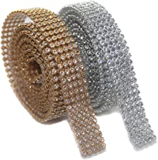 CB COLLECTIONS Jewellery Making Stone Sheet/Stone Lace 5 Line, Golden & Silver (Each 1.25 Mtr)