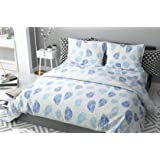 haus & kinder Leaves Block Print Cotton 186 TC Double Bedsheet with 2 Pillow Covers (Blue)