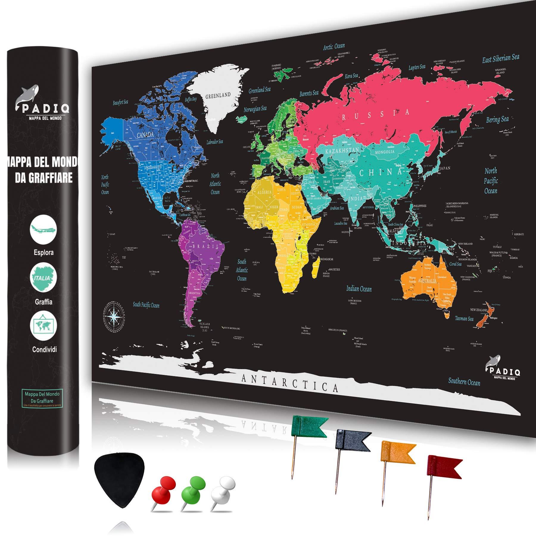 Cartina Mondo Gratta.Padiq Mappa Del Mondo Da Grattare Design Minimalista Qualita Premium Xxl 90 X 55 Poster Da Grattare Design Esclusivo Cartina Geografica Dettagliata Planisfero Da Grattare Idea Regalo Faceshopping