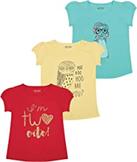 MINNOW Girls Regular Fit Printed Cotton T-Shirt(Pack of 3)