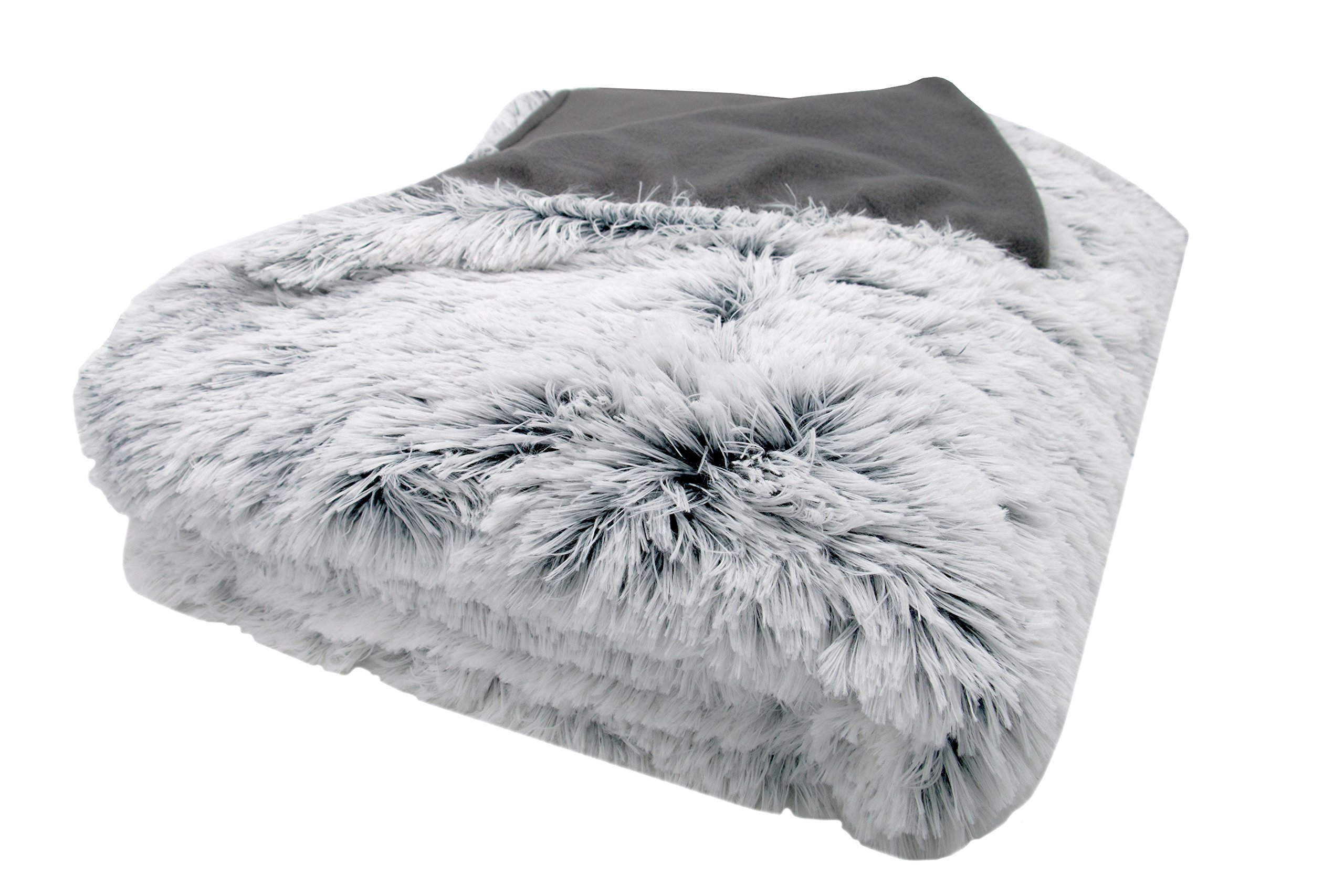 Zollner Kuscheldecke 150x200 cm oder 220x240 cm, grau-weiß, Felloptik, 024