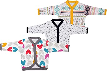 Baby Grow Long Sleeve Front Open Vest-Jhabla for Baby Boy/Girls Set of 3