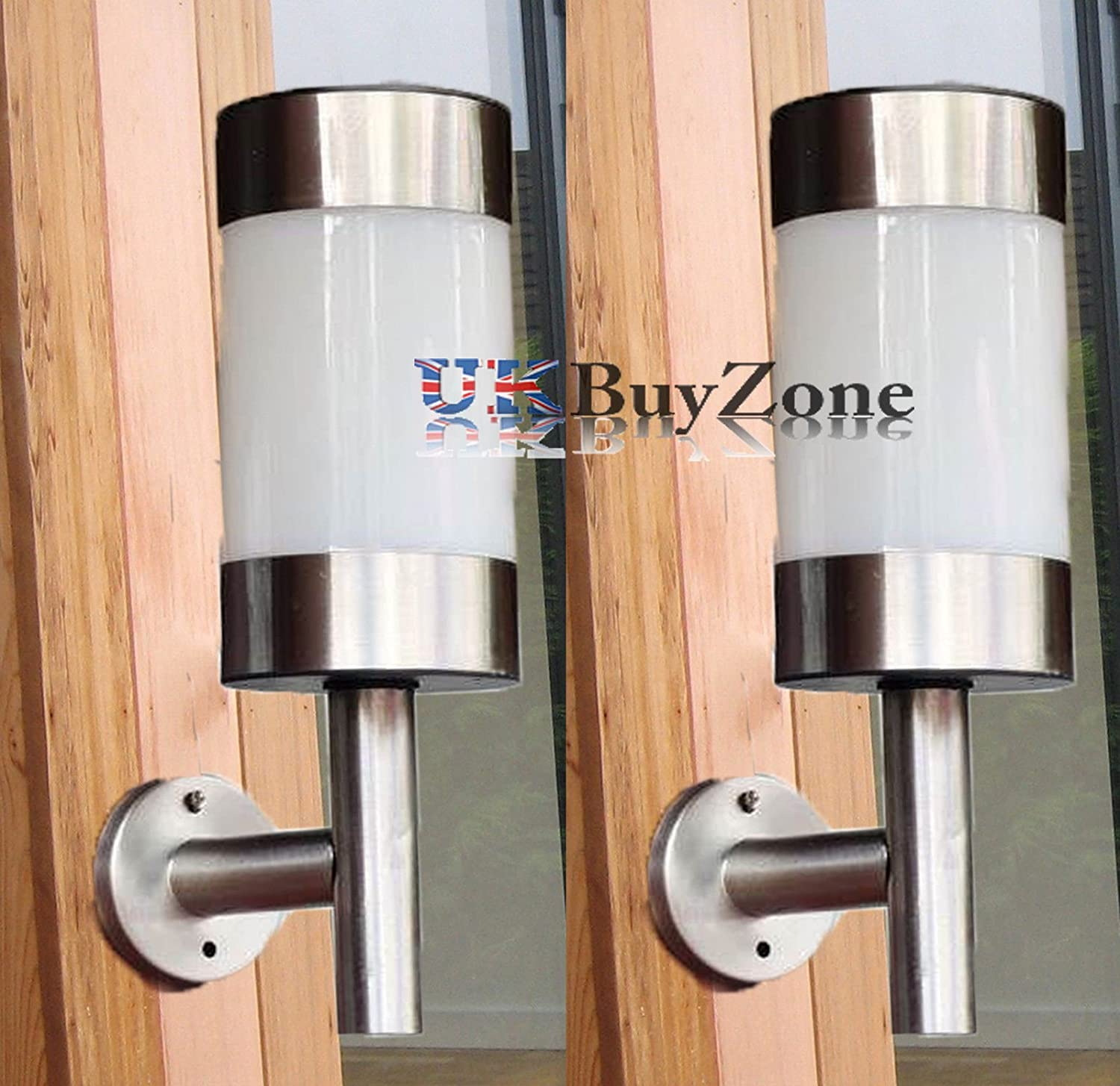 Stainless Steel LED Solar Powered Garden Wall Fence Lights Outdoor Lantern  1/ 2 (2 X Solar Wall Lights): Amazon.co.uk: Kitchen U0026 Home