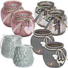 LS Design 2x Windlicht Glas Kugel Teelichthalter Kerzenständer Kerzenhalter Shabby