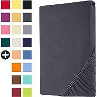 Heim24h® Drap-Housse revêtement Matelas Anthracite 140x200-160x200 cm d'une Hauteur de 18 à 30 cm 100% Coton Qualité…