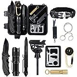 Yaer Survival kit 11 in 1, professionelle Survival-Kit, Kompass, Taschenlampe, Starter, Pfeife, Tactical Pen,Mehrzweck-Werkzeugkarte,Überlebens-Armband, Wandern und Outdoor-Abenteuer