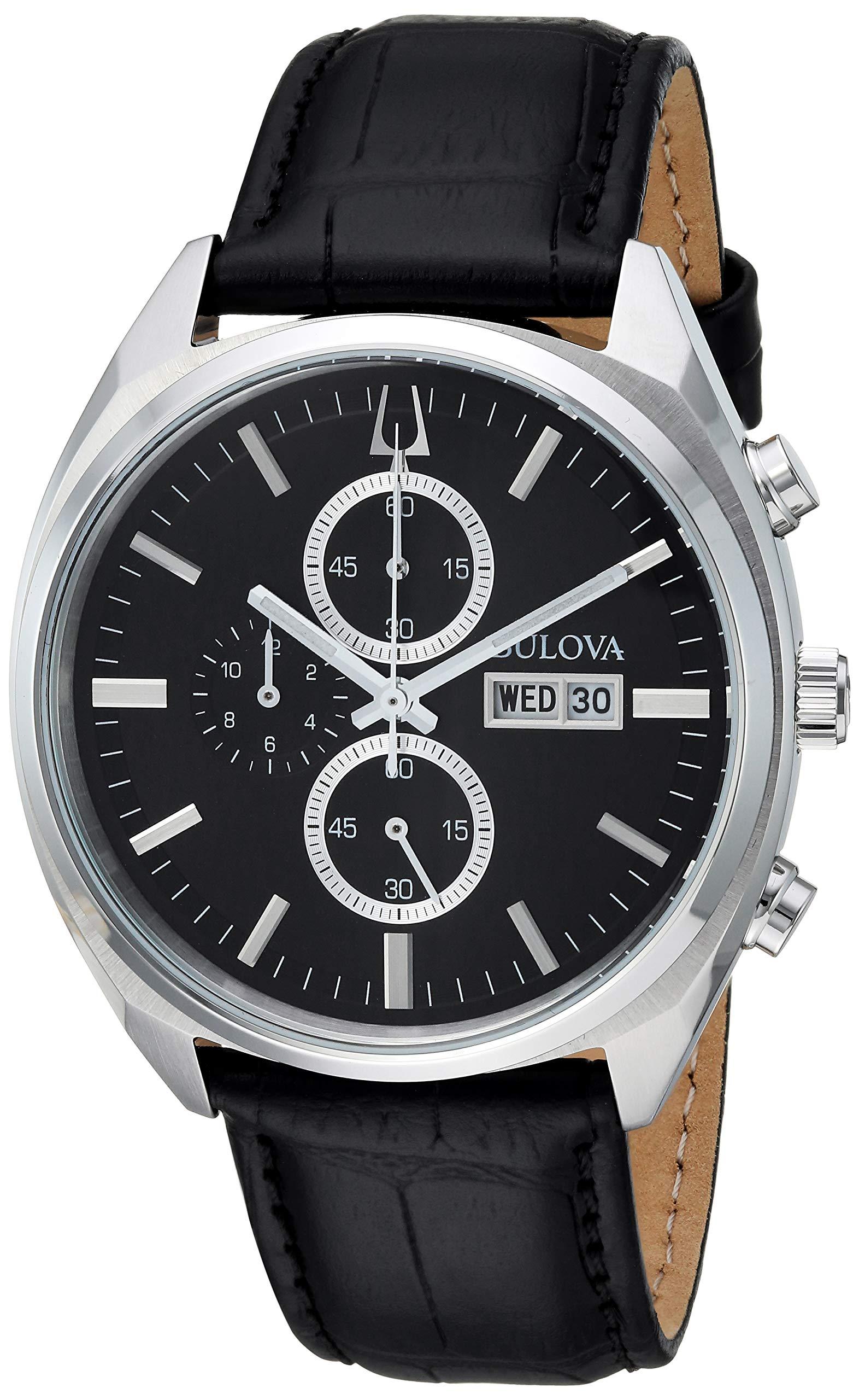 Bulova Mens Chronograph Quartz Watch with Leather Strap 96C133