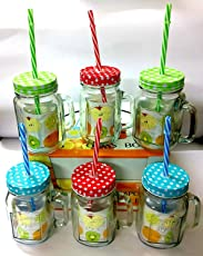 Shopkooky Colored Lid Mason Jars with Handle and Straw,480ml(T&G_Shopkooky_Masonjar6, Multicolour)-Set of 6