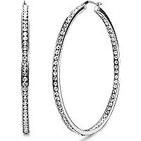 Adramata Orecchini a cerchio grande in acciaio inox Orecchini a pendente in zircone carino per donna, 50MM