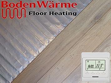 Electric Under Laminate Wood Foil Underfloor Heating Mat Kit 10m Sq Digital Thermostat
