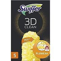 Swiffer Duster Plumeau 3D Clean, Plumeau 360°, 5 Recharges Plumeau, Attrape et Retient la Poussière