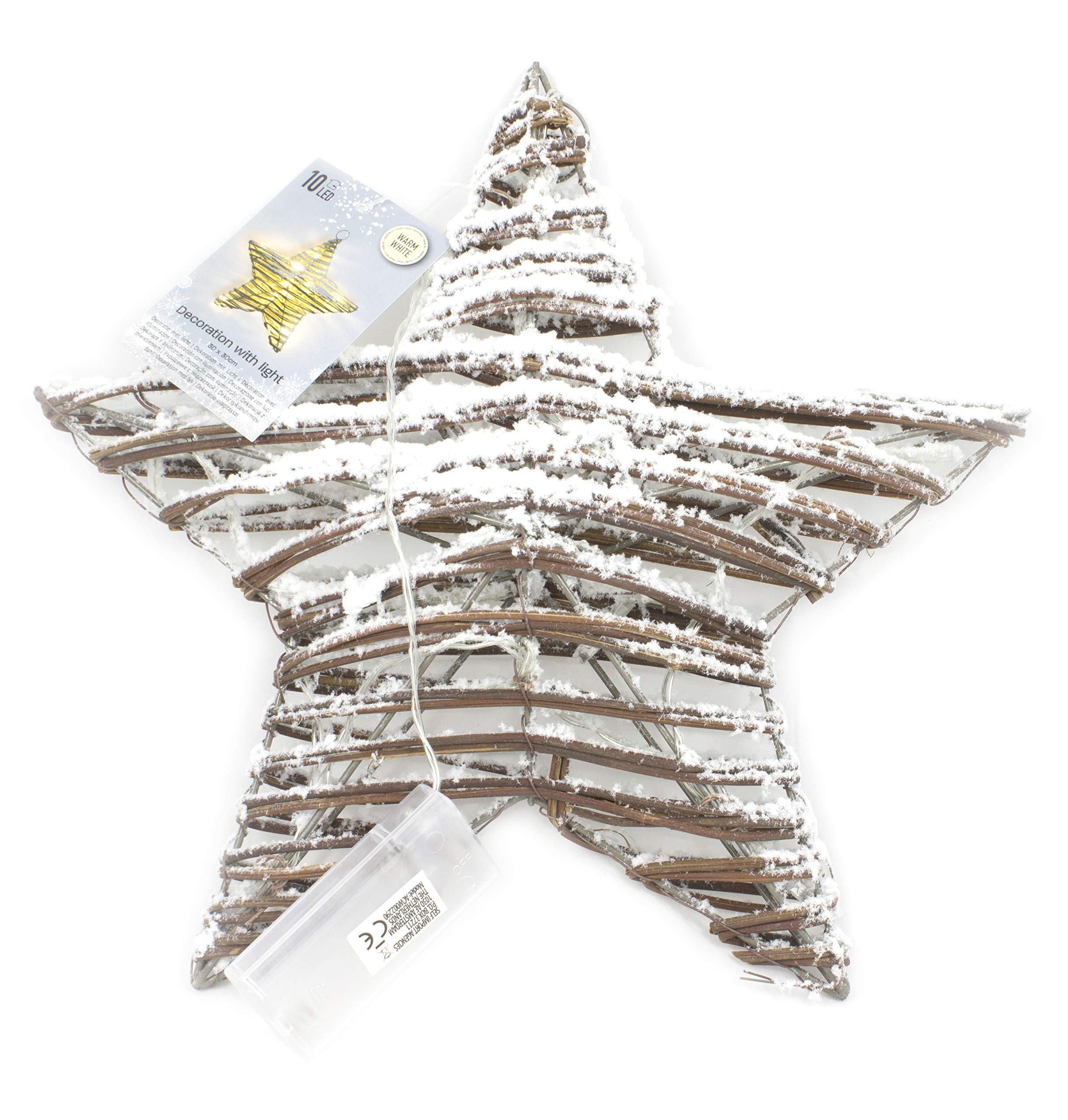 Stella Luminosa Di Natale.Stella Luminosa Led Stella Led Natale Stella Led Decorativa Di Colore Naturale Con Neve Bianca E Un Cerchio Da Appendere 30 X 30 Cm Stella Di