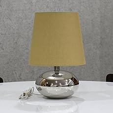 Textured Matka Silk Shade Nikil Finish Brass Base Table Lamp Decorative Night Bedside Lamp