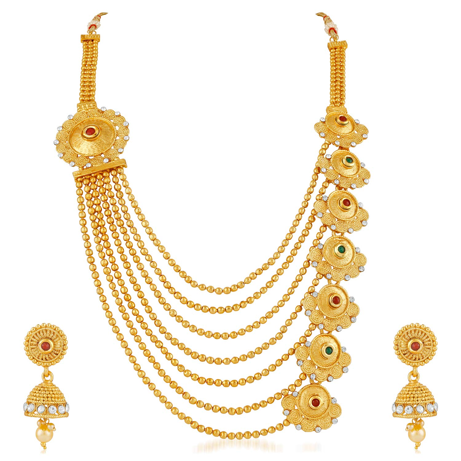 ef7af2a0dc4 Apara Traditional Gold Plated Multistrand Ball Chain Mala Earring ...