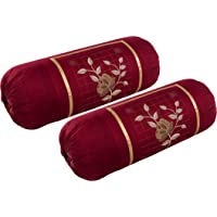 Rj Products™ Cotton Bolster Cover with Beautiful Rose Embroidery Set of 2 Piece - Maroon Color