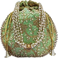 athizay Potli bag Parrot Green Matka Design for Women Wristlets Return Gifting handbags for Festivals Birthday Purses