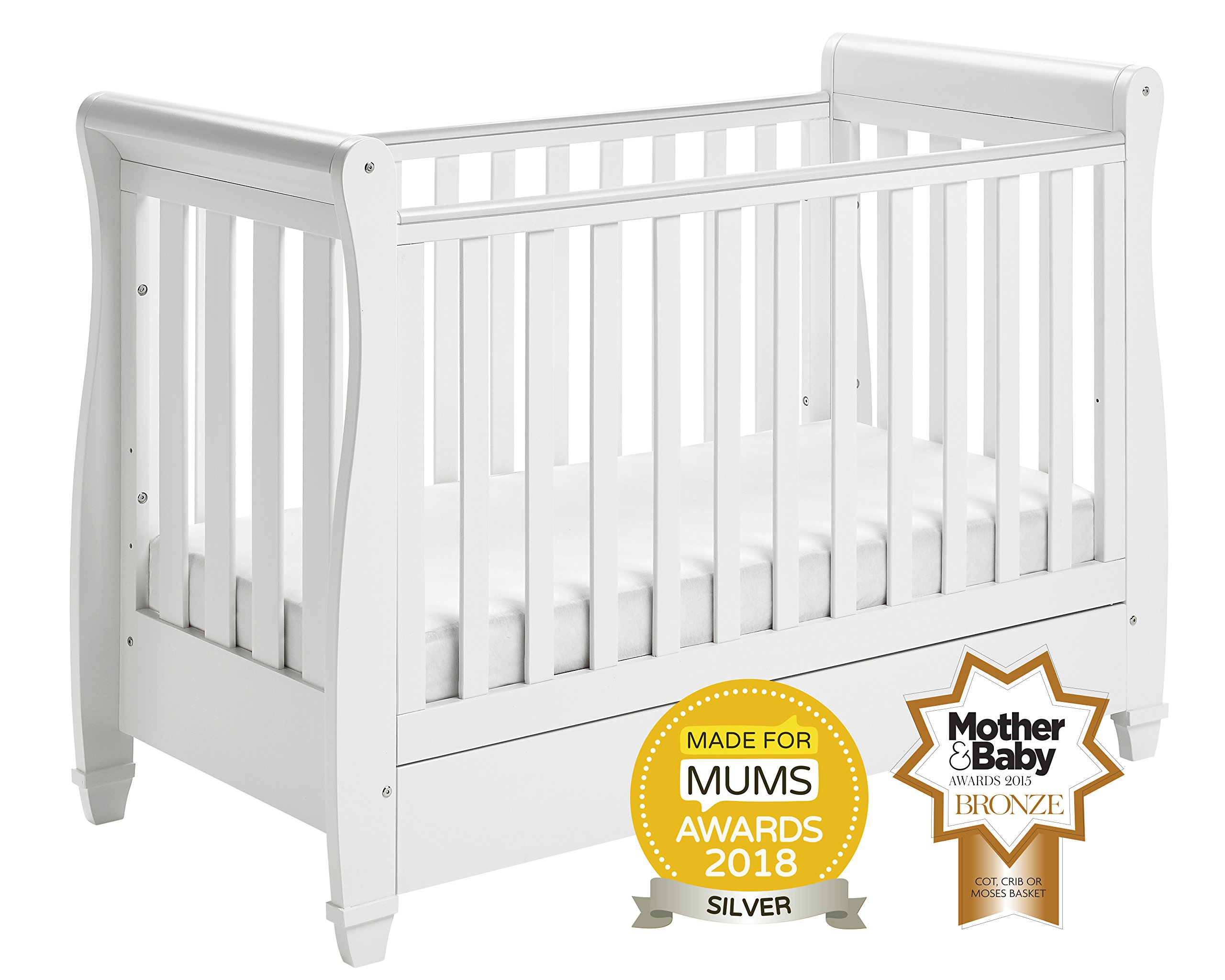 Babymore Eva Sleigh Cot Bed Dropside with Drawer (White Finish) + FOAM MATTRESS  Easily convert to junior bed/sofa/day bed, Meet British and European safety standards; Single handed drop side mechanism allow easy access to your baby Protective Teething rail on top of both sides. Full drawer on runner provide extra storage 1