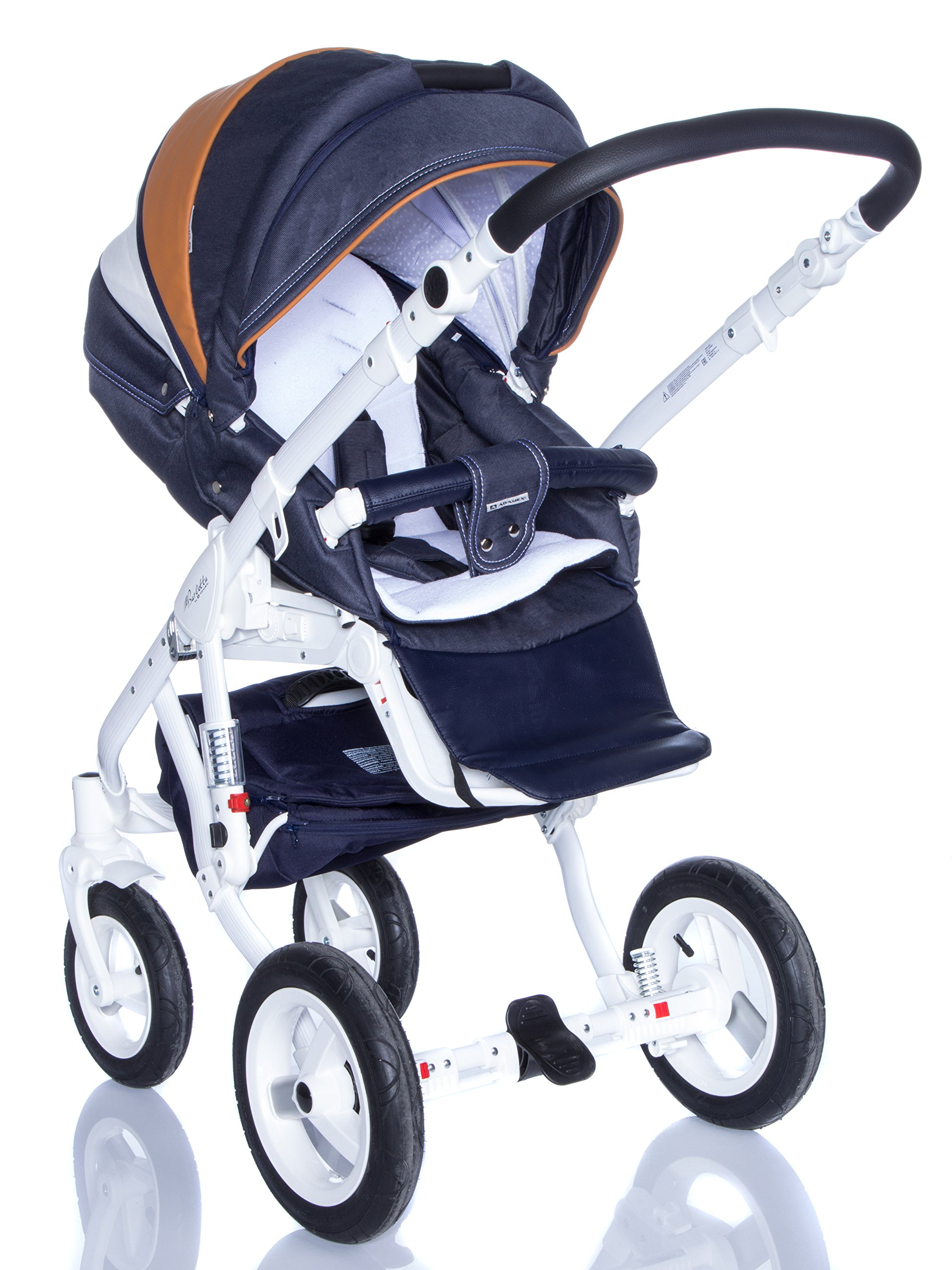 Baby Pram Pushchair Stroller Buggy, Travel System Adamex Barletta New B7 Fox-Navy-White 2in1 + ADAPTORS for CAR Seats: Maxi-COSI CYBEX KIDDY Be Safe Adamex Lockable swivel wheels and lockable side suspension system Light alluminium chassis with polyurethane wheels 2 separate modules + car seats adapters - big and deep baby tub functional sport seat and car seats adapters that can be attached to the following car seats: Maxi-Cosi: City, Cabrio fix, Pebble Cybex: Aton Kiddy: Evoluna i-Size, Evolution Pro 2 Be Safe: iZi Go 4