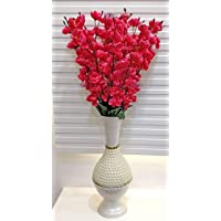 ARTSY® Artificial Flower for Home Decoration Cherry Blossom Flower Bunch Pink Office Decor | Combo| Pack of Two| VASE…