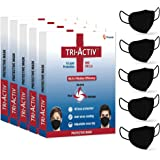 Tri-Activ 6 Layer Protective Face Masks, PM2.5 / N95 Tested as per NIOSH standard, Anti-Virus Coating, 99.5% Filtration Efficiency, Reusable, (Black mask Pack of 5)
