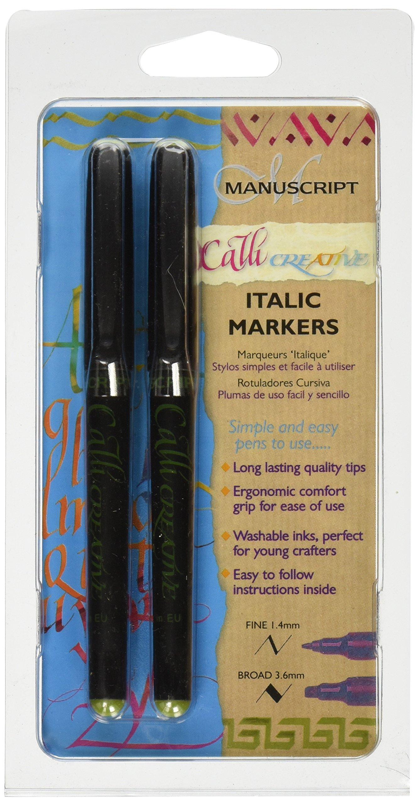 Manuscript - Pennarelli Callicreative per scrittura corsiva, confezione da 2, colore verde