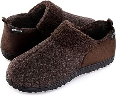 ULTRAIDEAS Men's Cozy Memory Foam Slippers w/Warm Fleece Lining, Wool-Like Blend Micro Suede House Shoes w/Anti-Slip Indoor Outdoor Rubber Sole