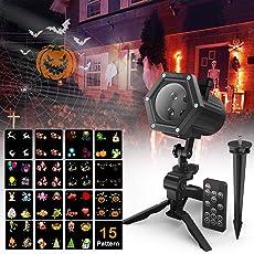 LED Projektionslampe mit 15 dynamische Motiven, Maxcio Led Projektor Weihnachtsbeleuchtung mit Fernbedienung, 2/4/6 Stunden Timer für Halloween Weihnachten Party Hochzeit, Festival Innen und Außen