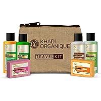 KHADI ORGANIQUE Grooming Travel Kit Men & Women, 2 Soap (75 g each) & Shampoo + Conditioner + Moisturiser + Face Wash…
