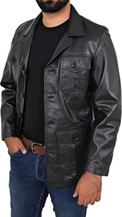 Mens Real Leather Reefer Jacket Button Fastening Blazer Style Jerry Black