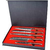 YARENH 5 Pièces Ensembles de Couteaux de Cuisine Professionnel,Couteaux en Acier Japonais Damas,Set Couteau Damas…