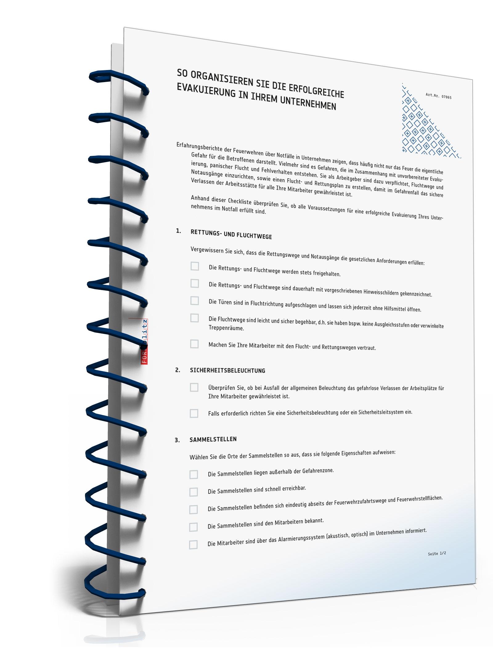 Checkliste Evakuierung Unternehmen  [PDF Download] (Unternehmen Legal Software)