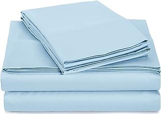 AmazonBasics 100% Cotton with Sateen Finish Bedsheet Set with Pillowcases - Twin, Smoke Blue, 400 TC