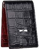 URBAN FOREST Leather Men's Money Clip (UBF139RDB1031_Black & Dark Red)